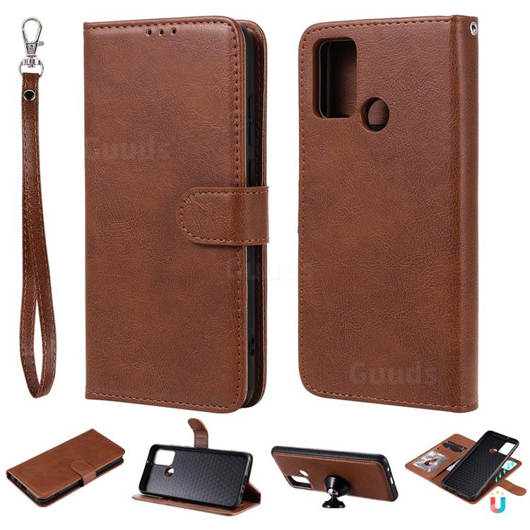 Retro Greek Detachable Magnetic PU Leather Wallet Phone Case for Huawei Honor 9A - Brown