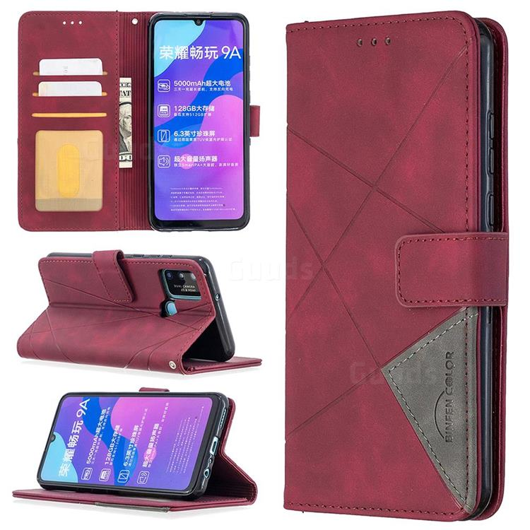 Binfen Color BF05 Prismatic Slim Wallet Flip Cover for Huawei Honor 9A - Red