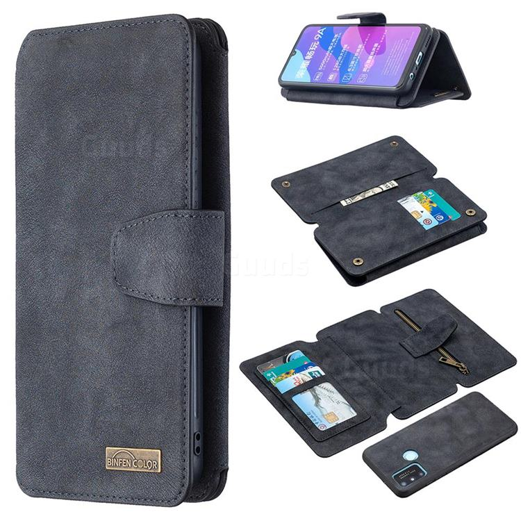 Binfen Color BF07 Frosted Zipper Bag Multifunction Leather Phone Wallet for Huawei Honor 9A - Black