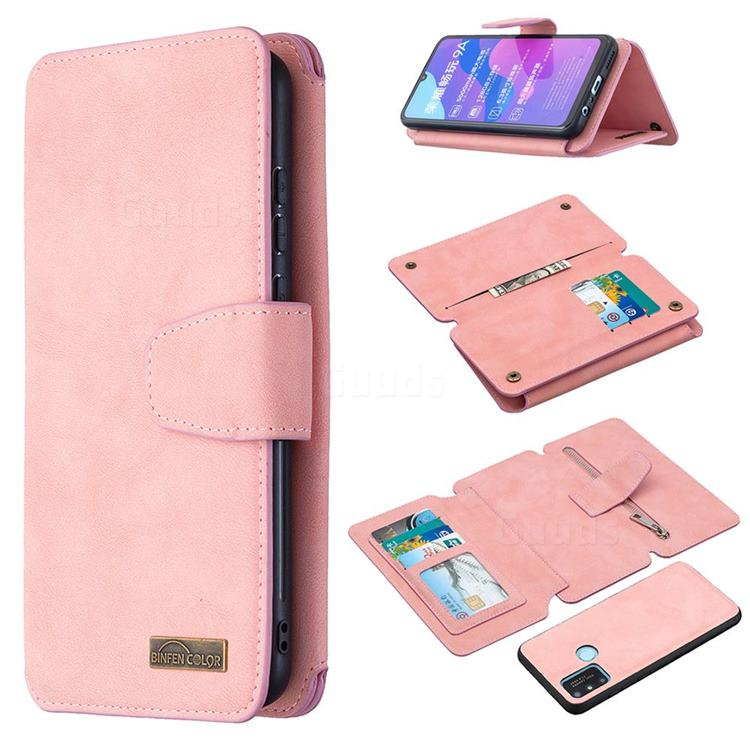 Binfen Color BF07 Frosted Zipper Bag Multifunction Leather Phone Wallet for Huawei Honor 9A - Pink