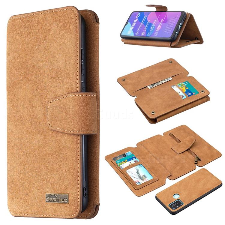 Binfen Color BF07 Frosted Zipper Bag Multifunction Leather Phone Wallet for Huawei Honor 9A - Brown