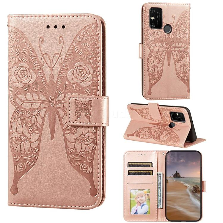 Intricate Embossing Rose Flower Butterfly Leather Wallet Case for Huawei Honor 9A - Rose Gold