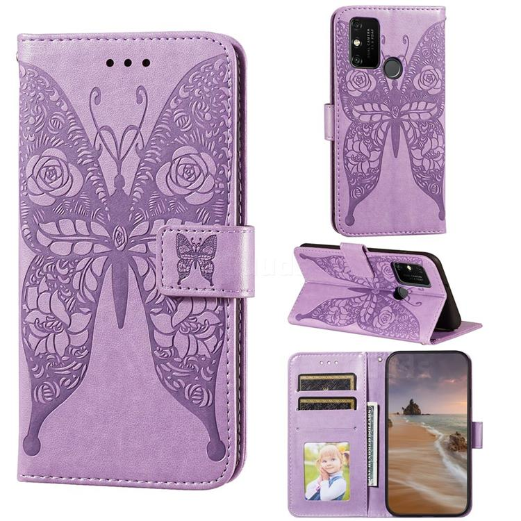 Intricate Embossing Rose Flower Butterfly Leather Wallet Case for Huawei Honor 9A - Purple