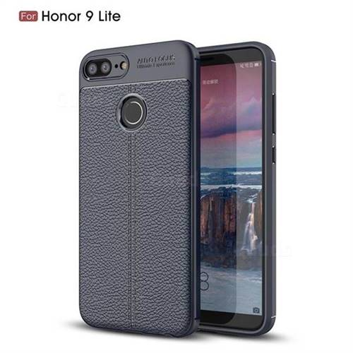 Luxury Auto Focus Litchi Texture Silicone TPU Back Cover for Huawei Honor 9 Lite - Dark Blue