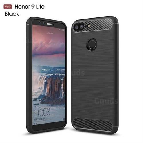 Luxury Carbon Fiber Brushed Wire Drawing Silicone TPU Back Cover for Huawei Honor 9 Lite - Black