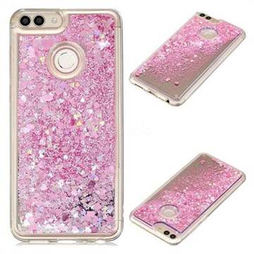 Glitter Sand Mirror Quicksand Dynamic Liquid Star TPU Case for Huawei Honor 9 Lite - Cherry Pink