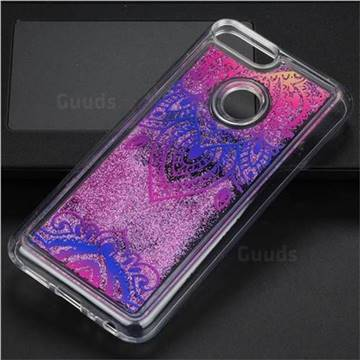 Blue and White Glassy Glitter Quicksand Dynamic Liquid Soft Phone Case for Huawei Honor 9 Lite