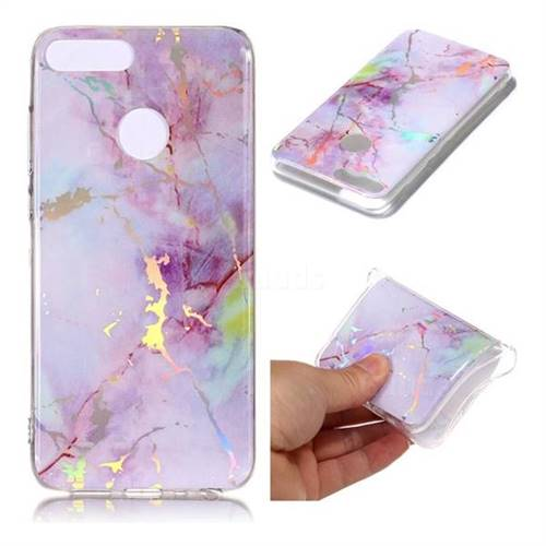 Pink Purple Marble Pattern Bright Color Laser Soft TPU Case for Huawei Honor 9 Lite