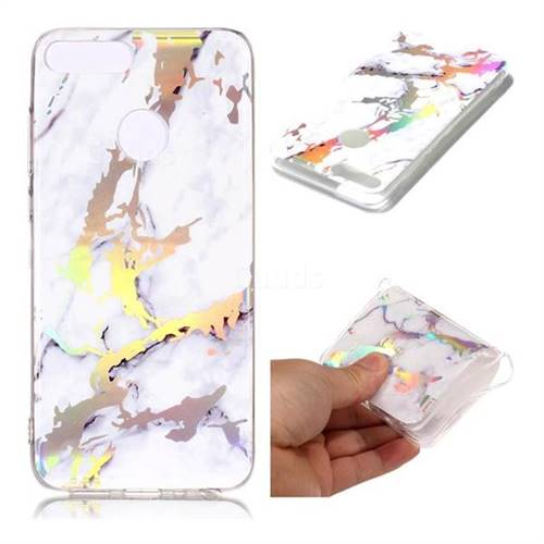 White Marble Pattern Bright Color Laser Soft TPU Case for Huawei Honor 9 Lite