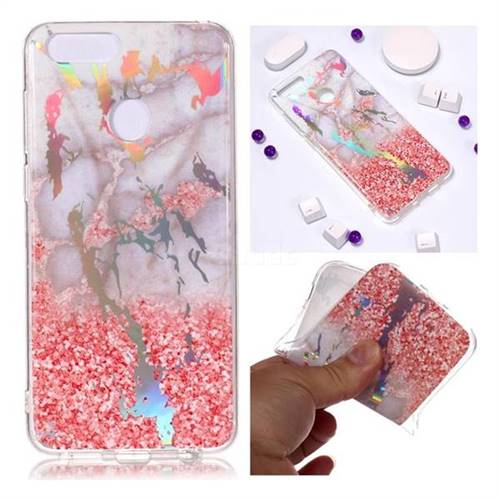Powder Sandstone Marble Pattern Bright Color Laser Soft TPU Case for Huawei Honor 9 Lite