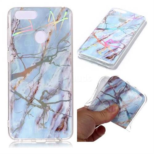 Light Blue Marble Pattern Bright Color Laser Soft TPU Case for Huawei Honor 9 Lite