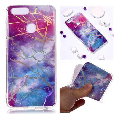Dream Sky Marble Pattern Bright Color Laser Soft TPU Case for Huawei Honor 9 Lite
