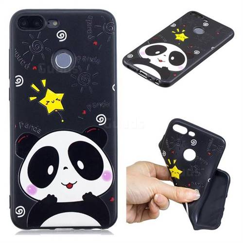 Cute Bear 3D Embossed Relief Black TPU Cell Phone Back Cover for Huawei Honor 9 Lite