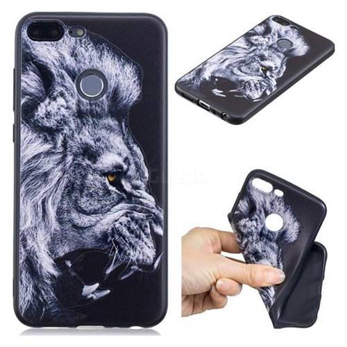 Lion 3D Embossed Relief Black TPU Cell Phone Back Cover for Huawei Honor 9 Lite
