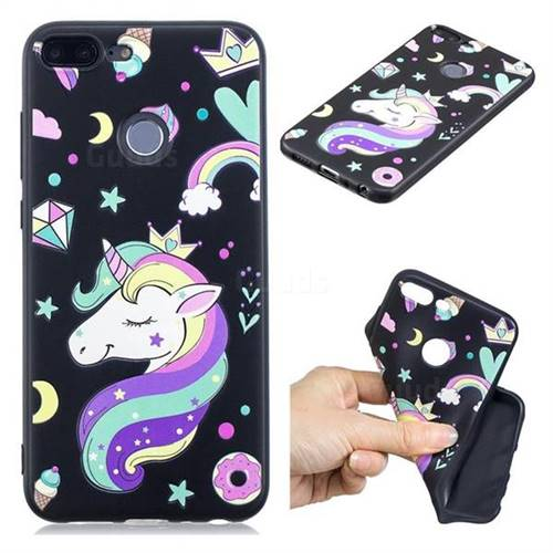 Candy Unicorn 3D Embossed Relief Black TPU Cell Phone Back Cover for Huawei Honor 9 Lite