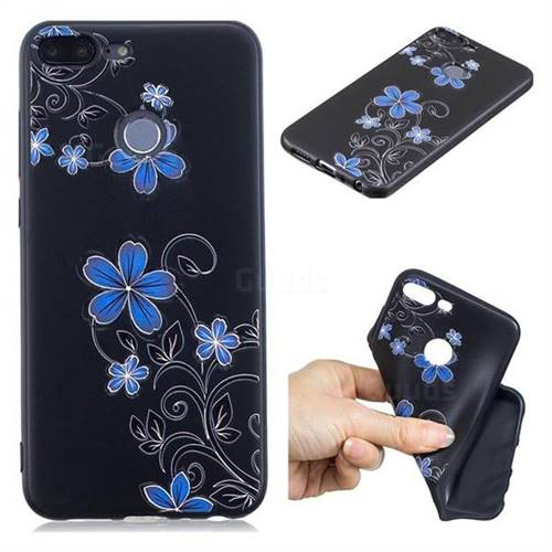 Little Blue Flowers 3D Embossed Relief Black TPU Cell Phone Back Cover for Huawei Honor 9 Lite