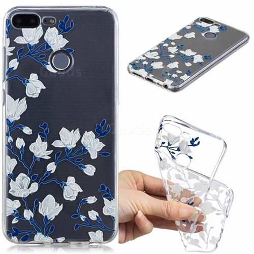 Magnolia Flower Clear Varnish Soft Phone Back Cover for Huawei Honor 9 Lite
