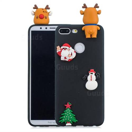 Black Elk Christmas Xmax Soft 3D Silicone Case for Huawei Honor 9 Lite
