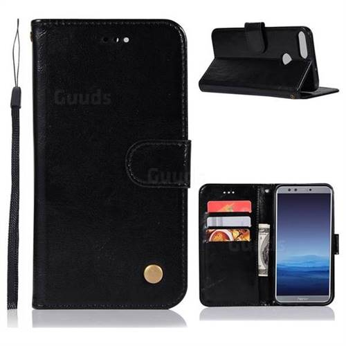 Luxury Retro Leather Wallet Case for Huawei Honor 9 Lite - Black