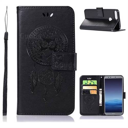 Intricate Embossing Owl Campanula Leather Wallet Case for Huawei Honor 9 Lite - Black