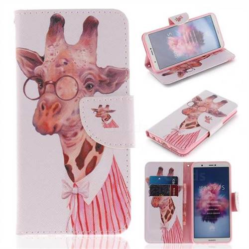 Pink Giraffe PU Leather Wallet Case for Huawei Honor 9 Lite