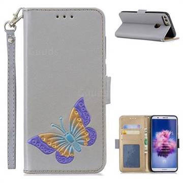 Imprint Embossing Butterfly Leather Wallet Case for Huawei Honor 9 Lite - Grey
