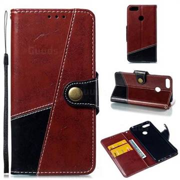 Retro Magnetic Stitching Wallet Flip Cover for Huawei Honor 9 Lite - Dark Red