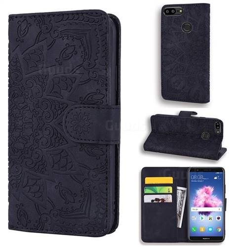 Retro Embossing Mandala Flower Leather Wallet Case for Huawei Honor 9 Lite - Black