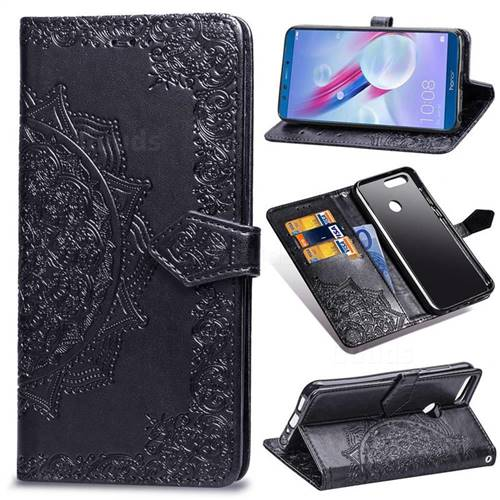 Embossing Imprint Mandala Flower Leather Wallet Case for Huawei Honor 9 Lite - Black
