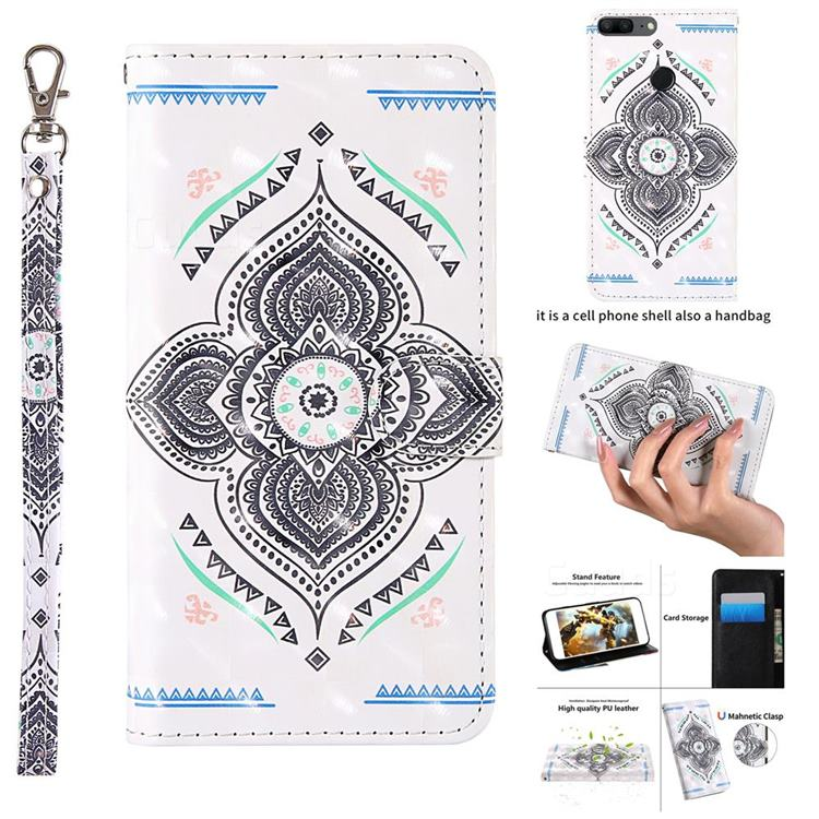 Mandala Totem 3D Painted Leather Wallet Case for Huawei Honor 9 Lite