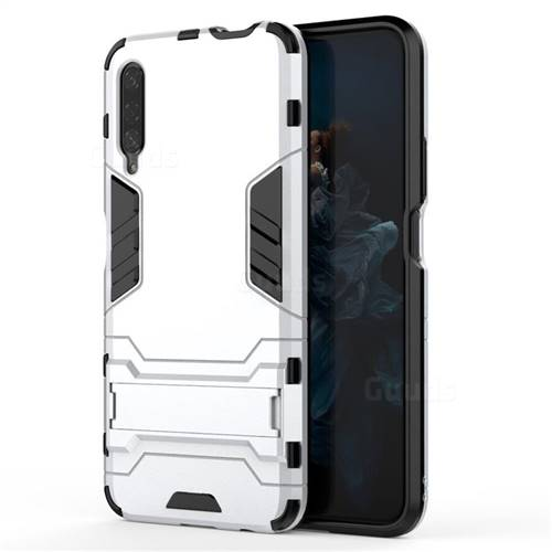 Armor Premium Tactical Grip Kickstand Shockproof Dual Layer Rugged Hard  Cover for Huawei Honor 9X - Silver