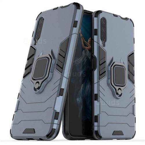Black Panther Armor Metal Ring Grip Shockproof Dual Layer Rugged Hard Cover for Huawei Honor 9X - Blue