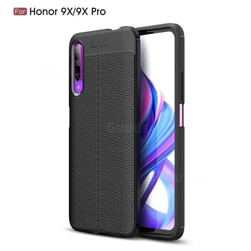 Luxury Auto Focus Litchi Texture Silicone TPU Back Cover for Huawei Honor 9X - Black