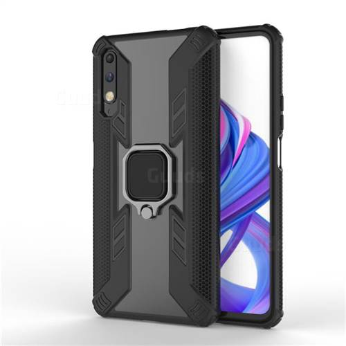 Predator Armor Metal Ring Grip Shockproof Dual Layer Rugged Hard Cover for Huawei Honor 9X - Black