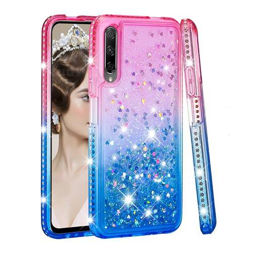Diamond Frame Liquid Glitter Quicksand Sequins Phone Case for Huawei Honor 9X - Pink Blue