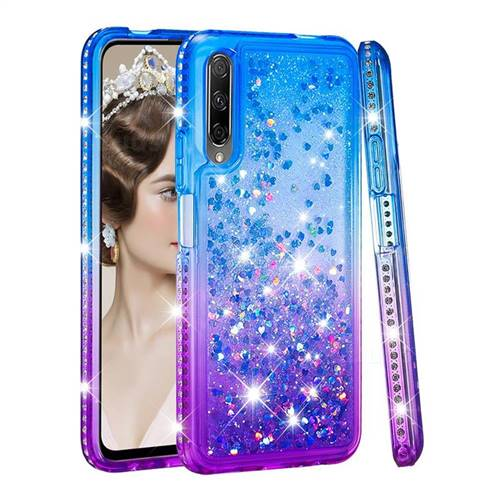 Diamond Frame Liquid Glitter Quicksand Sequins Phone Case for Huawei Honor 9X - Blue Purple