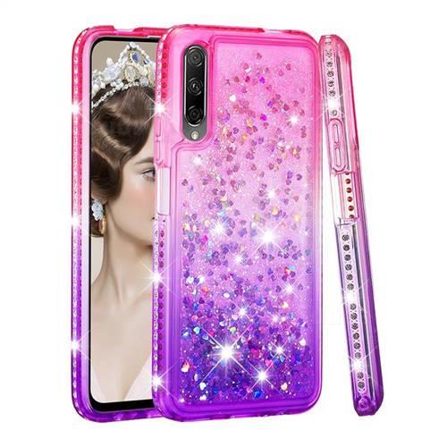 Diamond Frame Liquid Glitter Quicksand Sequins Phone Case for Huawei Honor 9X - Pink Purple