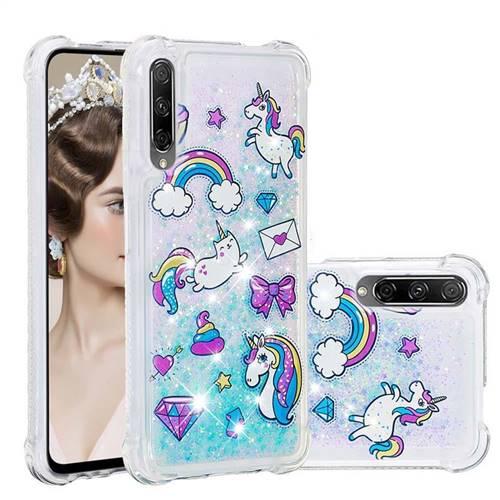 Fashion Unicorn Dynamic Liquid Glitter Sand Quicksand Star TPU Case for Huawei Honor 9X