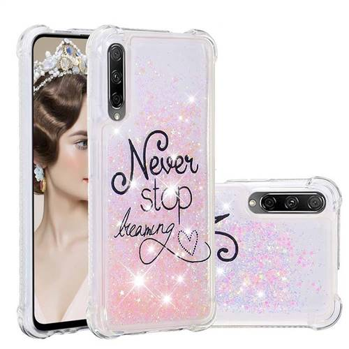 Never Stop Dreaming Dynamic Liquid Glitter Sand Quicksand Star TPU Case for Huawei Honor 9X