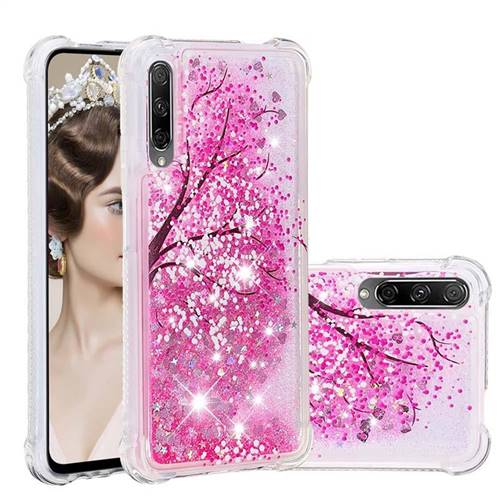 Pink Cherry Blossom Dynamic Liquid Glitter Sand Quicksand Star TPU Case for Huawei Honor 9X