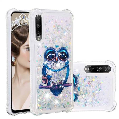 Sweet Gray Owl Dynamic Liquid Glitter Sand Quicksand Star TPU Case for Huawei Honor 9X