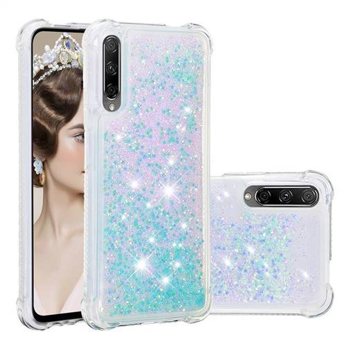 Dynamic Liquid Glitter Sand Quicksand TPU Case for Huawei Honor 9X - Silver Blue Star