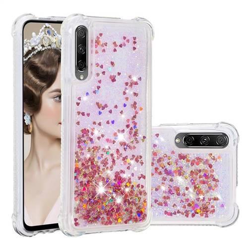 Dynamic Liquid Glitter Sand Quicksand TPU Case for Huawei Honor 9X - Rose Gold Love Heart