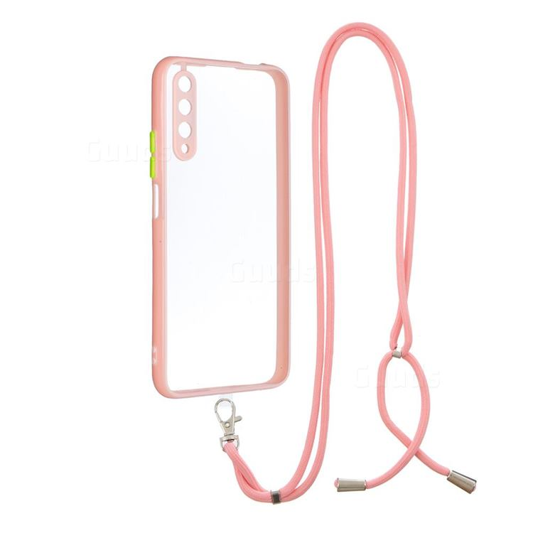 Necklace Cross-body Lanyard Strap Cord Phone Case Cover for Huawei Honor 9X - Pink