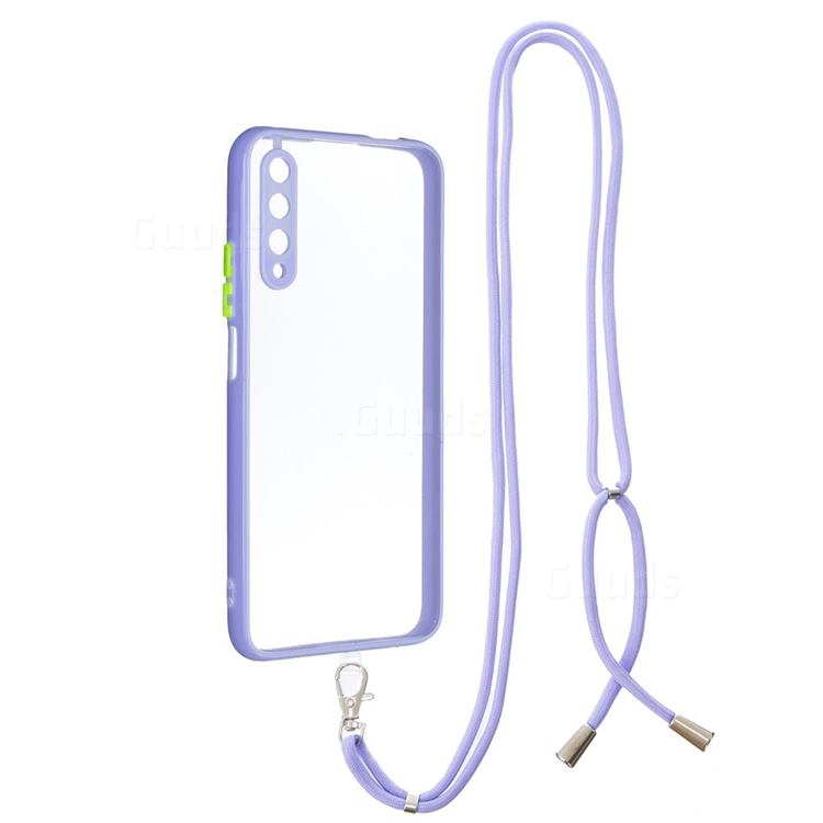 Necklace Cross-body Lanyard Strap Cord Phone Case Cover for Huawei Honor 9X - Purple