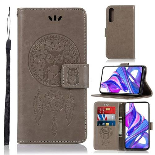 Intricate Embossing Owl Campanula Leather Wallet Case for Huawei Honor 9X - Grey
