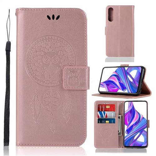 Intricate Embossing Owl Campanula Leather Wallet Case for Huawei Honor 9X - Rose Gold