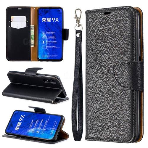 Classic Luxury Litchi Leather Phone Wallet Case for Huawei Honor 9X - Black