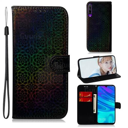 Laser Circle Shining Leather Wallet Phone Case for Huawei Honor 9X - Black