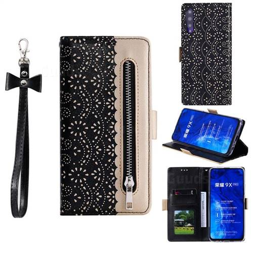 Luxury Lace Zipper Stitching Leather Phone Wallet Case for Huawei Honor 9X - Black